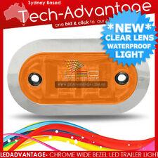 12V CHROME BEZEL AMBER WATERPROOF LED MARKER/CLEARANCE/TRAILER/BOAT LIGHT
