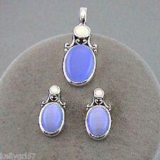 Pale Blue Oval Faux Cat's Eye Beautiful Retro Gift Pendant & Earrings Set #135-C