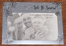 6 X Christmas Photo Frame Cards Envelopes photo Greetings SILVER LET IT SNOW
