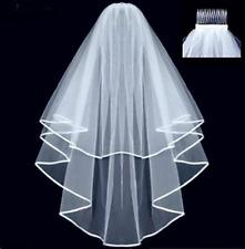 Voile mi long en tulle blanc avec pince , bordé de satin , accessoire mariage
