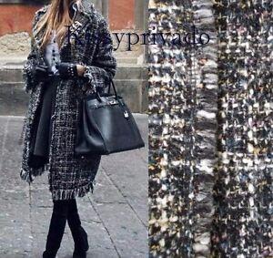 ZARA Multicoloured Boucle Tweed Frayed Edge Coat  L BNWT 7846 648