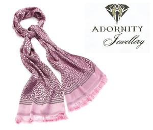 Pink tone colour animal print tassel scarf. ladies fashion UK SELLER
