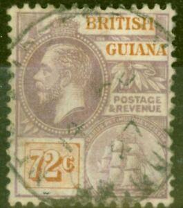British Guiana 1923 72c Dull Purple & Orange-Brown SG181 Fine Used