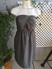 BR MONOGRAM BANANA REPUBLIC Gray Silk Cocktail Strapless Party Dress Size 4 Sexy
