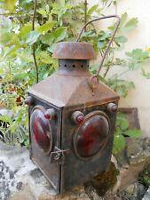 Ancienne lanterne calèche voiture chantier Bateau sncf couleur rouge 3 verres