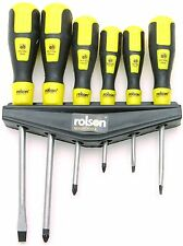 6pc Screwdriver Set Magnetic Tip Pozi Slotted & Mountable Rack - ROLSON 28572