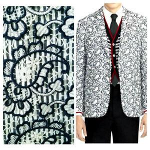 Brooks Brothers Thom Browne Black Fleece Jacket Celebrity Lace Paisley Coat 38R