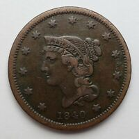 1840 Braided Hair Large Cent Small Date Fine Corroded