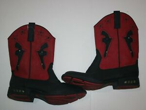 Used Roper Boys 3 Youth Shoes Cowboy Boots Red w Black Light Up Wore Once