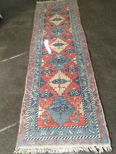 Vintage RED ORANGE Kazak Turkish Oriental Runner Rug TRIBAL Hand-Knotted 3'x9'