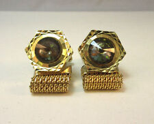 GOLD TONE OCTAGON SHAPED CUFF LINKS UNIQUE COLORED STONE W/ REMOVABLE MESH *