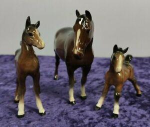 Set of 3 beautiful Beswick pottery horses figurines