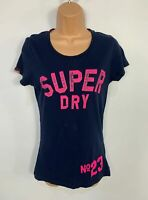 WOMENS SUPERDRY SIZE SMALL BLUE LOGO PRINT SHORT SLEEVE CREW NECK CASUAL T SHIRT