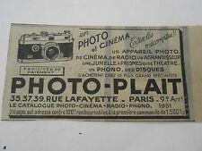 Photo Plait appareil photo cinéma radio Publicité Ancienne 1951