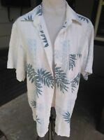 Marc Edwards Mens MED Washable Linen Hawaiian Shirt White Blue Short Sleeve