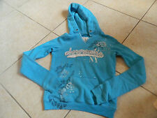 Abecrombie Aqua Hooded Sweat Shirt White Floral Design Size Youth M