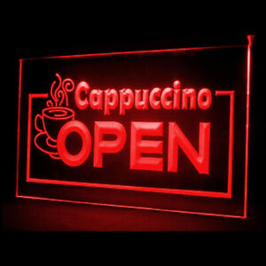 110007 OPEN Hot Cappuccino Coffee Shop Steamer Display LED Light Neon Sign