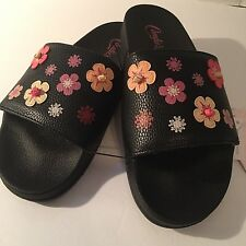 Candies Women's Slide Sandal Size L Black Floral Appliqué New