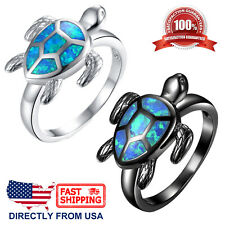 Women's Blue Green Fire Opal Inlay Sea Turtle Ring