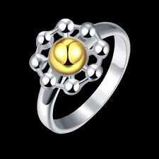 Fashion 925Sterling Solid Silver Jewelry Gold Flower Rings For Women R112