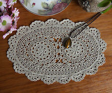 Fine Yarn Lace Hand Crochet Crocheted Doily Doilies Placemat Oval 20x32CM Beige