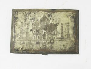 Box Solid Brass Hand Carving Taj Mahal Rare Vintage Old Collectible India