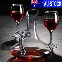 1700ML Crystal Glass Wine Decanter Carafe Elegant Pourer Container w/2 Cup
