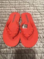 New Unisex Women's Diesel Orange Rubber Flip Flop Shoes, US 6, EUR 36