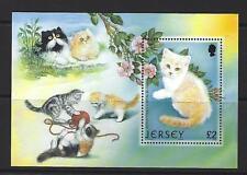 JERSEY 2002 CATS MINIATURE SHEET UNMOUNTED MINT.
