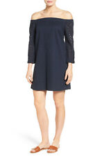 HALOGEN Dress L Navy Blue Off Shoulder Eyelet HA356304MI $99 NEW NWT NORDSTROM