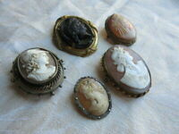 Antique / Vintage Lot of 5 Cameo Cameos Pin Brooch Set - As Is - As Found