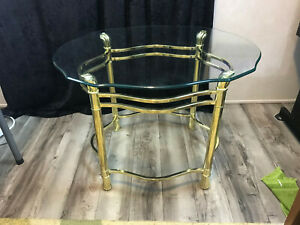 """vintage MCM Brass Oval Side Table Glass Top Shell Feet Hands 20 3/4"""" x 23 1/12"""""""