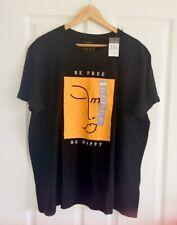 Ladies Women's Girls Primark Slogan T-Shirt Tee Top Blouse Size 2XL 22-24 Black