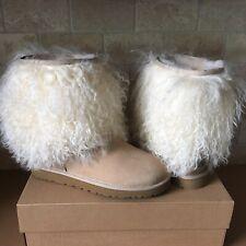 UGG Classic Short Sheepskin Cuff Mongolian Natural Suede Boots Size US 10 Womens