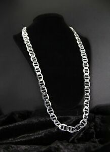 """New 12MM Solid Sterling Silver Men's Flat Mariner Gucci Chain Necklace Italy 28"""""""