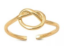 GENUINE 925 Sterling Silver 18k Gold Plated Love Knot Adjustable Midi Toe Ring