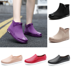 Womens Pvc Summer Rain Boots Round Toe Ankle Boot Anti-Slip Outdoor Shoes Casual