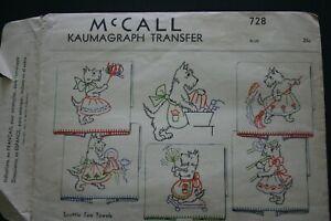 Vintage 1930s SCOTTIE Scotty DOG Tea Towel TRANSFER PATTERN McCALL  6 Designs !