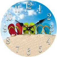 Glass Flip Flop Wall Clock 13-X-13 Home-Wall-Decor-Coastal-Nautical-Beach