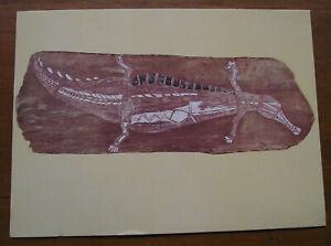 Retro Vintage Postcard: Aboriginal Bark Painting - Crocodile, Victoria Museum