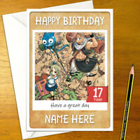 FAIRY TAIL Personalised Birthday Card - personalized anime tale natsu lucy