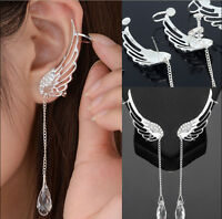 Angel Wing Crystal Long Tassle Earrings Drop Dangle Silver Ear Stud & Cuff Clip