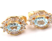 Gold Tone Clip on Earrings with Blue and Clear Stones, Vintage 1970s
