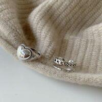 Damenring 925 Sterling Silber Damen verstellbar Ring Herz Cocktailring Geschenk.