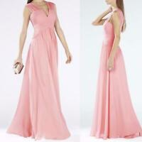 AUTH  BCBG MAX AZRIA Astella Sleeveless Shirred Pleated Gown LIGHT SHELL pink