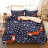 3D Cartoon Snow Fox Duvet Cover Queen Bedding Comforter Cover PillowCase