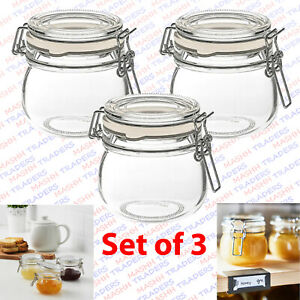 Small Glass Jars Ikea Spice Herb Jam Bottles Mason Clip Top Airtight Set of 3