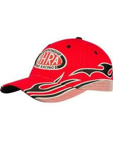 N.H.R.A.RED MESH FLAME HAT 3D EMBROIDERED ADJUSTABLE NHRA CAP NEW