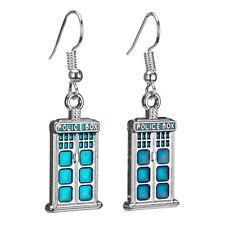 Tardis Earrings DR Who Enamel Silver Dangle Jewellery Gift