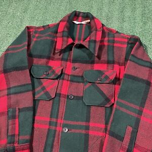 Woolrich Flannel Coat Men XL Red Green Button Up Collared Heavy Vintage 80s USA